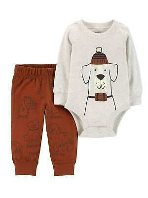 Carters Infant Boys Long Sleeve Gray Bodysuit & Red Puppy Dog Print Pants Set