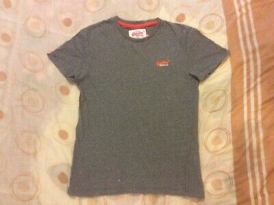 """Superdry Orange Label Men's Grey Marl T-shirt Tee Size Small Pit To Pit 18.5"""" GC"""