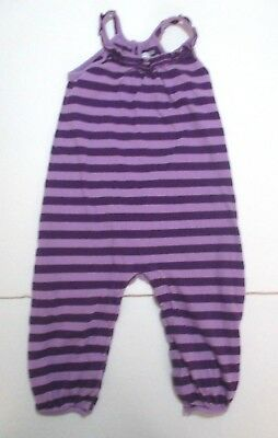 Toddler Girls Baby Gap Purple Striped Keyhole Back Longall Outfit Size 18-24 Mon