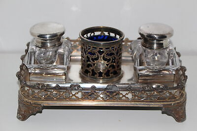 Antique James Dixon Silverplate Desk Stand W/2 Glass Inkwells-Sheffield England