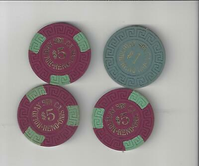 Lot Of 4 $1,$5 Casino Chips Holiday Spa Reno  Nevada