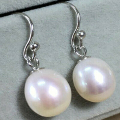 10-12MM White pearl silver earring creamy grace classics DIY flawless charming