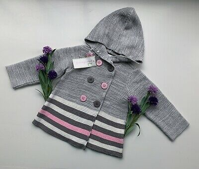 65e89eee3 First Impressions Baby Girl Sz 6-9 Months Knit Hooded Sweater Gray, Pink-
