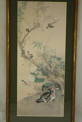 Vintage Japanese Woodblock Print Ducks & Birds Signed Matted & Framed