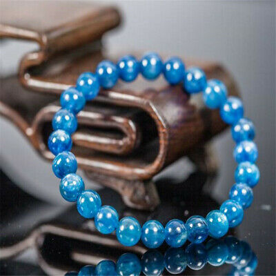 8mm Blue jade Bracelet 7.5 inches Reiki Lucky Bless Tibet silver Stretchy Sutra