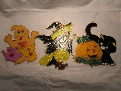 Vintage Halloween Witch Cat Ghost Plastic 'Stained Glass' Decorations Set $4Sh