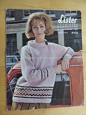 Vintage Knitting Pattern, 60s, Sweater with Fair Isle Borders + Stand Collar
