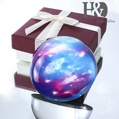 80MM Clear Crystal Half Ball Sphere Paperweight Star Sky Pattern Ornament Gifts