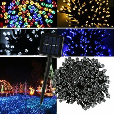 100 200 LED Solar Power Fairy Lights String Garden Outdoor Party Wedding Lamp