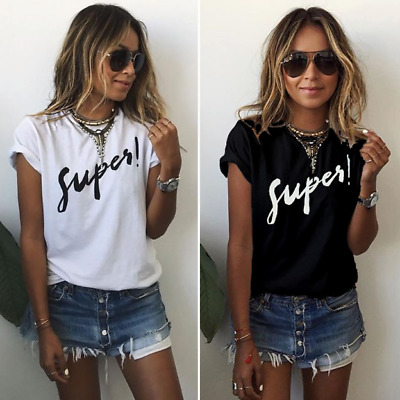 Round Neck Letter Print T-Shirt Women Summer Short Sleeve Casual Loose Tops Tee
