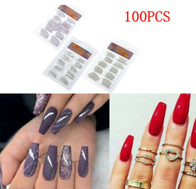100pc Long False Nails Coffin Fake DIY Shape Nail Art Tips Cover False Ballerina