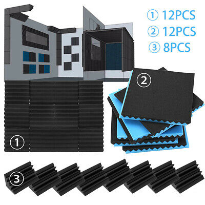 48Pack 12x12x2'' Acoustic Foam Soundproofing Panel Wedge Studio Wall Tile Sound