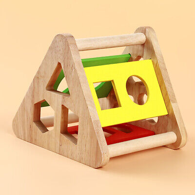 3D Wooden Toys Shape Sorter Puzzle Colorful Baby Toddler Buildings Toys FEH