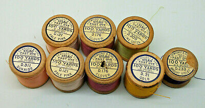 8 x assorted wooden reels of Sylko cotton/silk subtitute Rare colours