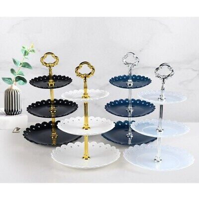3 Tier Plastic Party Cake Stand Afternoon Tea Wedding Plates Tableware Holder