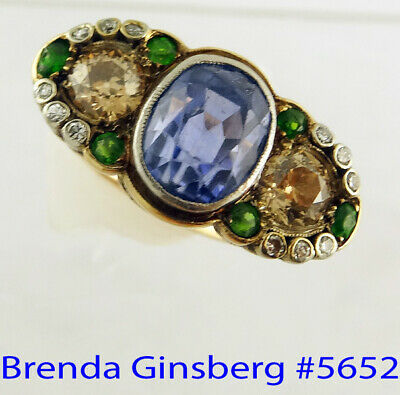 Antique Victorian Ring 6.10ct Sapphire 1.45ct Diamonds Demantoid Garnets (5652)