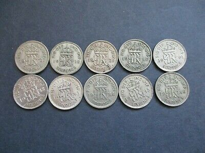 10 x SILVER SIXPENCES, ALL DATES 1937 - 1946, BULK COLLECTION GEORGE VI COINS