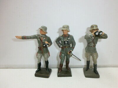 Convolute 3 Old Lineol Ground Soldiers Officers Generals with Binoculars to