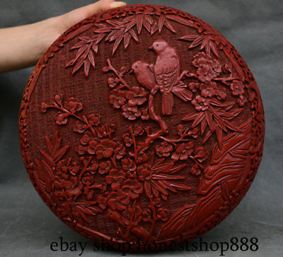 "11"" Qianlong Marked Old Red lacquerware Dynasty plum blossom Bird jewelry Boxes"