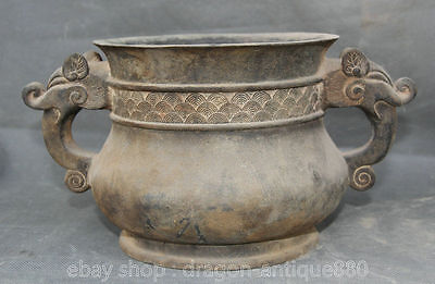 "10 ""Antique Chinese Bronze Ming Xuande Marked Beast handle Incense Censer"