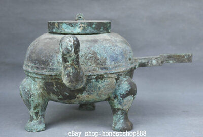 Chinese Old antique Bronze Ware Bird Beast Head Handle 3 Foot drinking vessel