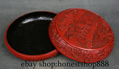 "8"" Old Chinese Red lacquerware Dynasty Scenery Hill jewelry ink cartridge Box"