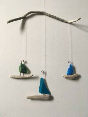 handmade fused glass boats and driftwood wall art