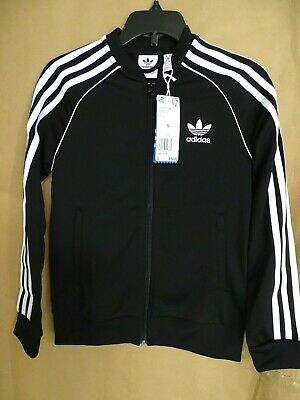 NEW adidas Originals Boys Girls Superstar Track Jacket S Black/Whit Trefoil logo
