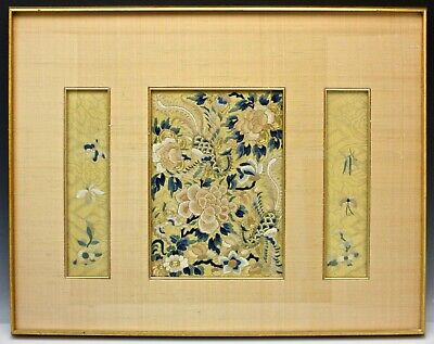 Chinese Embroidered Panel Silk & Gold Thread Forbidden Stitch 19th Century