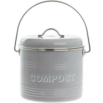 Kitchen Compost Tin Storage Container In Grey By The Leonardo Collection