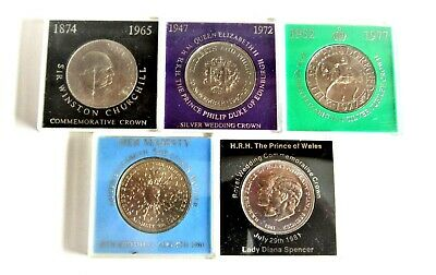 5 Cased Crowns Date Run From 1965 - 1981 Uncirculated 5 Crown Set