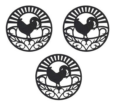Modern Kitchen Hot Pads Rooster Silicone Trivet Set Hot Dishes Mimics Cast Iron