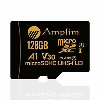 Amplim 128GB Micro SD SDXC V30 A1 Memory Card Plus Adapter Pack 100MB/s MicroSD