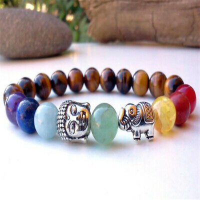 8mm 7 Chakras Beads Tigers Eye Bracelet 7.5 inches Wrist Sutra Gemstone Chakras