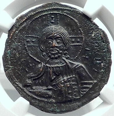 JESUS CHRIST Class A3 Anonymous Ancient 1020AD Byzantine Follis Coin NGC MS