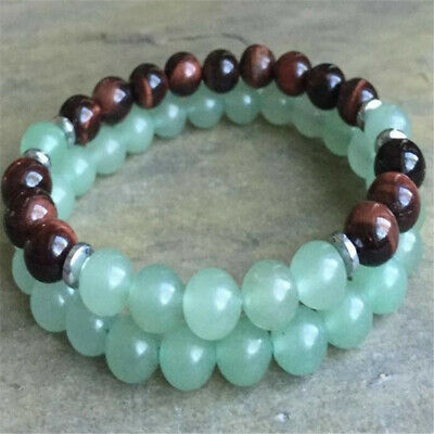 2pcs 8mm Green Jade Red Tigers Eye Bracelet 7.5 inches Lucky Gemstone Men