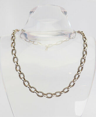 8fe99dcc0 Classic vintage sterling silver twisted oval link heavy chain designer  necklace