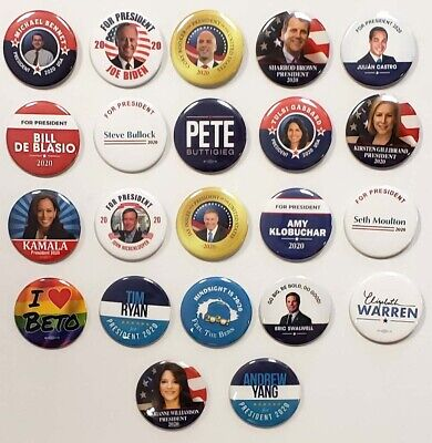 2020 President Campaign Buttons For 22 Different Democratic Candidates