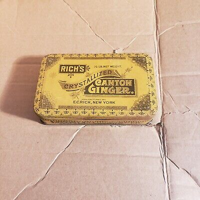 Vintage Old Advertising Tin Rich's Crystallized Canton Ginger EC Rich NY.
