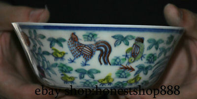 """5.6"""" Rare Ming Chenghua Old Chinese Wucai Porcelain Dynasty Palace Rooster Bowl"""