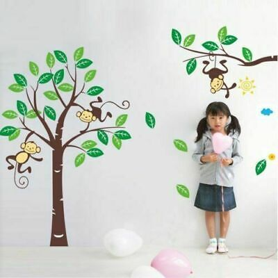 Monkey Cute Tree Removable Vinyl Decal Wall Stickers Kids Room Home Decor New