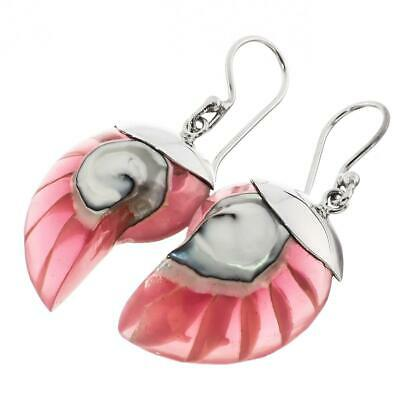"""1 1/8"""" PINK OPEN CHAMBER NAUTILUS SHELL STERLING SILVER earrings"""