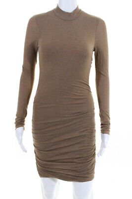 7cc70bb1bf ALC Womens Long Sleeve Crew Neck Ruched Shirt Dress Beige Size Extra Small
