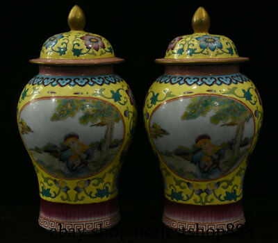 "10"" Marked Chinese Old antique Colour Enamels Porcelain General tank Vase Pair"