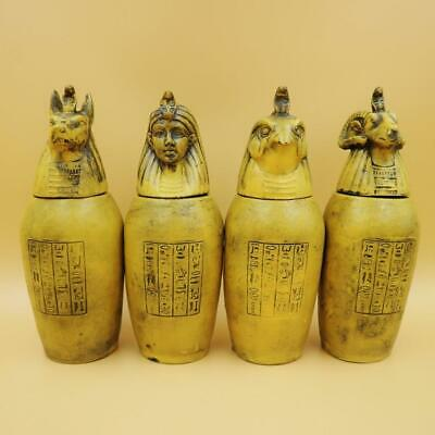 X-LARGE Antique Collection Set of 4 Egyptian Ancient Canopic Jars Organs Storage