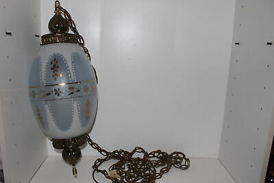 Vintage Hollywood Regency Hand Painted Frosted Glass Swag Lamp/Light-Gold-Works