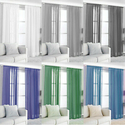 Plain Voile Curtain Panel Rod Pocket Net Slot Top Varies Colors Sizes
