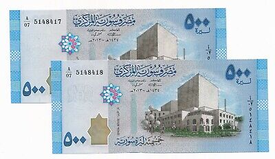 Syria 500 Lira Notes P. 115 2013 UNC Consecutive Pair - Oldest Musical Note