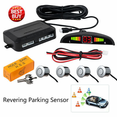 Silver Reversing Parking Radar Sensor Car Vehicle 4 Sensors LED Alarm Buzzer
