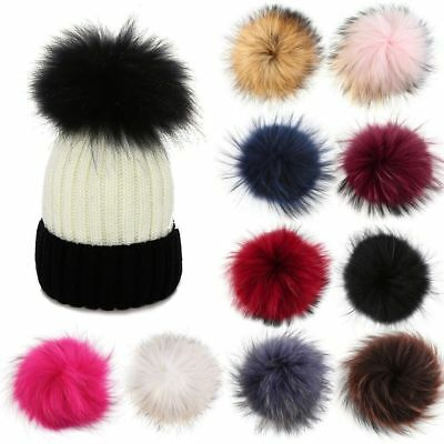 DIY Women Faux Raccoon Fur Pom Poms Ball for Knitting Beanie Hat Accessories Dw
